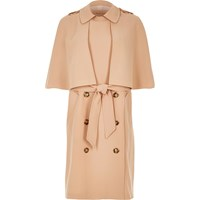 River Island Womens Beige Cape Trench Coat