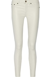 Rag And Bone Mid Rise Leather Skinny Jeans White