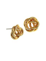 Diane Von Furstenberg Knotted Snake Chain Stud Earrings Gold