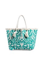 Star Mela Casta Rope Tote Bag Ivory Emerald