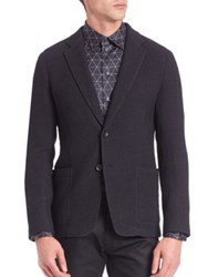 Armani Collezioni Textured Stretch Wool Jacket Navy