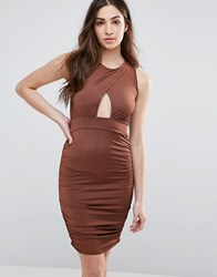 Daisy Street Bodycon Dress With Keyhole Front And Ruched Sides Bronze Brown