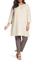 Eileen Fisher Plus Size Women's Organic Linen Bateau Neck Tunic Undyed Natural