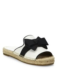 Michael Kors Hawn Bow Leather Espadrille Slides Maritime