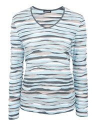 Gerry Weber Wavy Stripe Top Grey Blue