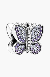 Pandora Design Butterfly Bead Charm Sterling Silver Purple Cz