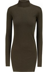 Helmut Lang Ribbed Cotton And Angora Blend Turtleneck Sweater Green