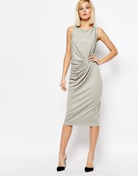 Selected Radia Drape Dress In Jersey Limestone Grey