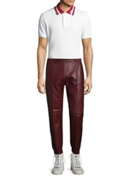 Bally Striped Leather Trousers Red
