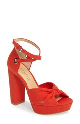 Women's By Zendaya Mission Ankle Wrap Platform Pump Mandarin Red