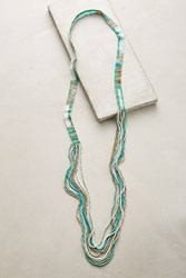Anthropologie Linear Layered Necklace Mint