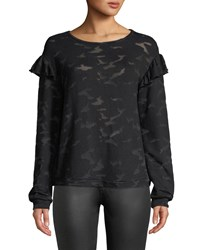 Generation Love Oliver Burnout Camo Tee With Ruffles Black