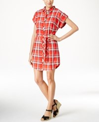 G.H. Bass And Co. Plaid Print Belted Shirtdress Red Plaid