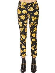 Versace All Over Printed Cotton Denim Jeans Black