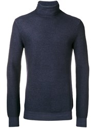 Paolo Pecora Roll Neck Fitted Sweater Blue