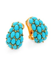 Kenneth Jay Lane Cabochon Clip On J Hoop Earrings Turquoise