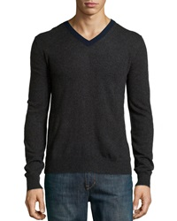 Neiman Marcus Cashmere Colorblock V Neck Sweater Smoke Storm