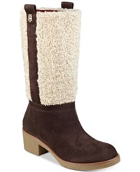 Tommy Hilfiger Ynez Faux Fur Tall Boots Women's Shoes Dark Brown