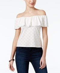 Amy Byer Bcx Juniors' Off The Shoulder Eyelet Top Off White