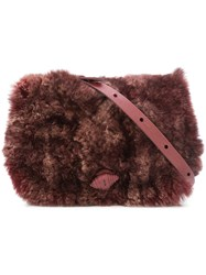 Henry Beguelin Leather Cross Body Bag Women Leather Rabbit Fur One Size Pink Purple