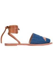 Red Valentino Contrast Sandals Women Leather Canvas 38 Blue