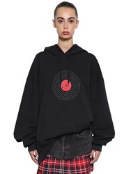 Vetements Oversized Printed Cotton Jersey Hoodie Black