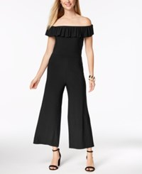 Love Scarlett Petite Off The Shoulder Ruffle Jumpsuit Created For Macy's Black