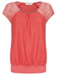 Kaliko Lace And Jersey Bubble Top Pastel Orange