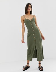 Asos Design Maxi Slubby Cami Swing Dress With Faux Wood Buttons Green