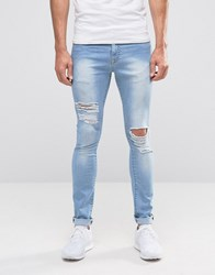Brooklyn Supply Co. Co Ripped Light Wash Hunter Spray On Jeans With Distressing Light Wash Blue