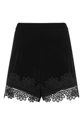 Topshop Velvet Lace Hem Short Black