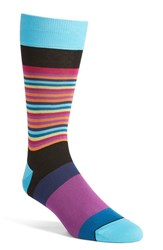 Bugatchi Men's 'Thin Stripe Bold Stripe' Socks Black