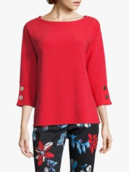 Betty Barclay Ribbed Button Jersey Top Hibiscus Red