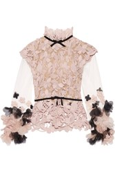 Reem Acra Floral Appliqued Tulle And Guipure Lace Top Antique Rose