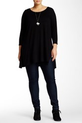 Andrea Jovine 3 4 Length Sleeve Side Vent Blouse Plus Size Black