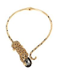 Betsey Johnson Pave Leopard And Faceted Stone Hinged Collar Necklace Gold