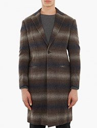 Casely Hayford Checked Wool Chesterfield Coat Brown