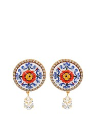 Dolce And Gabbana Majolica Crystal Embellished Earrings Blue Multi