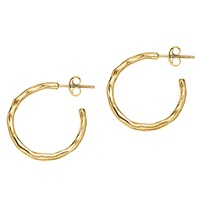 Dower And Hall 18Ct Gold Vermeil Small Ripple Hoop Earrings Gold