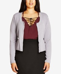 City Chic Trendy Plus Size Lace Back Cardigan Dove