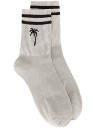 Msgm Palm Tree Socks Silver
