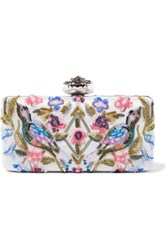 Alexander Mcqueen Heart Embellished Embroidered Satin Clutch Ivory