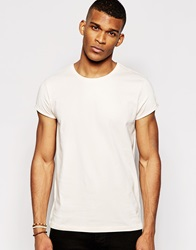 Asos T Shirt With Crew Neck And Roll Sleeve Peach