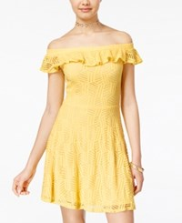 Teeze Me Juniors' Off The Shoulder A Line Dress Yellow