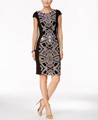 Jax Glitter Panel Sheath Dress Black White Copper