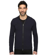 John Varvatos Long Sleeve Zip Front Knit Hoodie W Leather Trim Details And Elbow Patches K2847s3l Marine Men's Sweatshirt Blue