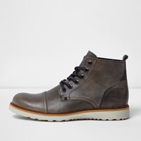 River Island Mens Light Grey Leather Contrast Sole Wedge Boots