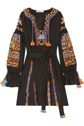 March11 Sahara Fringed Embroidered Linen Mini Dress Black