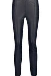 Drome Cropped Stretch Leather Leggings Midnight Blue