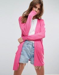 Asos Cardigan In Fine Knit In Soft Yarn Pink